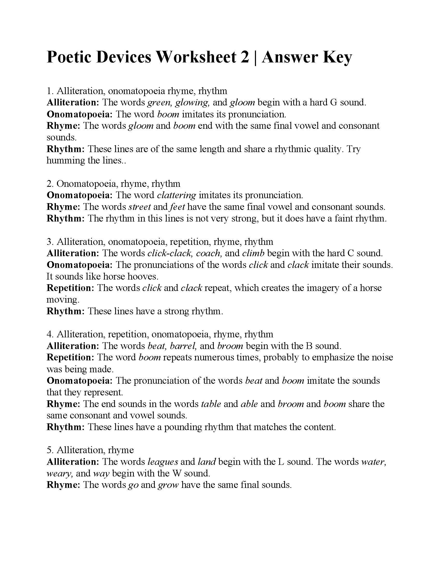 Poetic Devices Worksheet 2