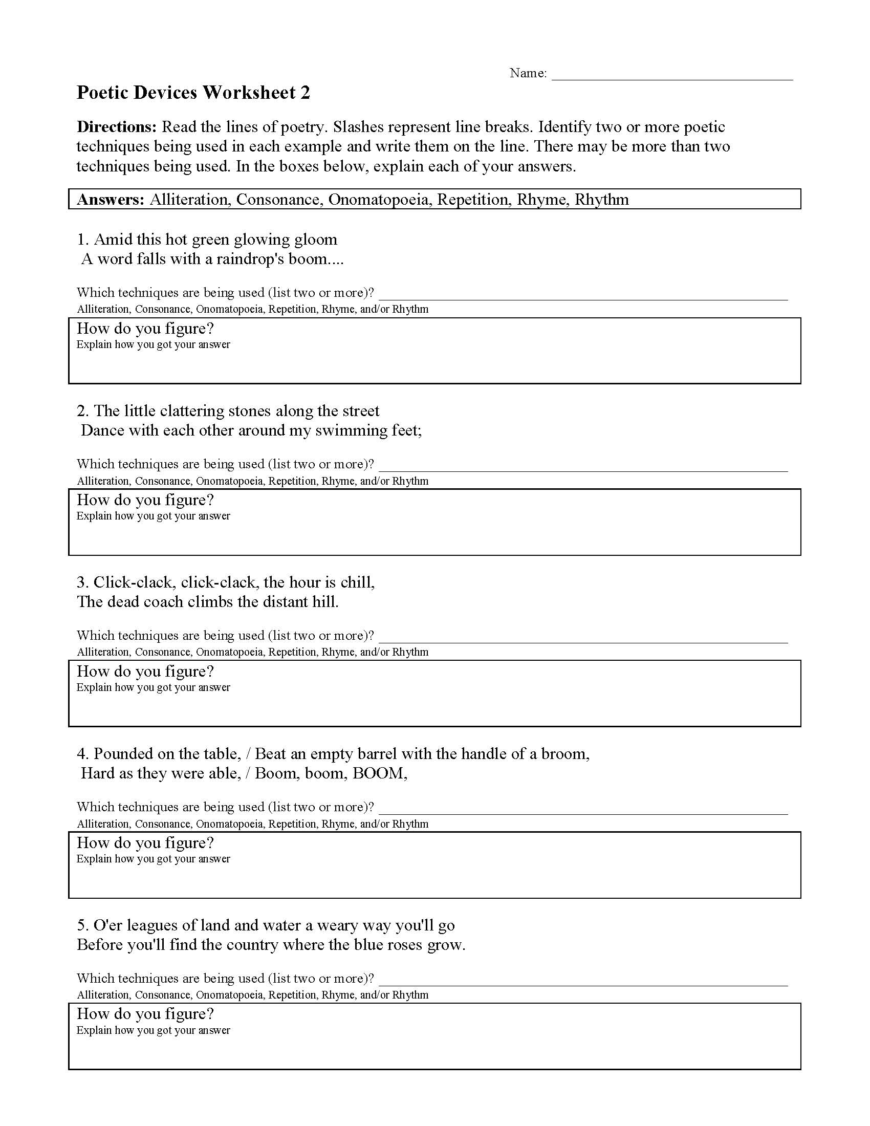 32 Sound Devices In Poetry Worksheet