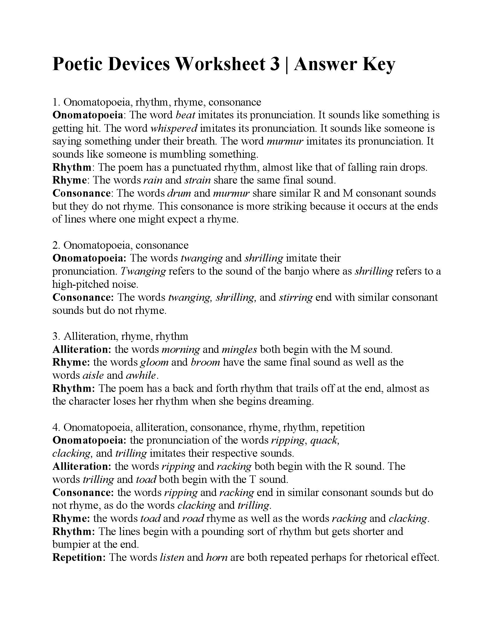 Poetic Devices Worksheet 3