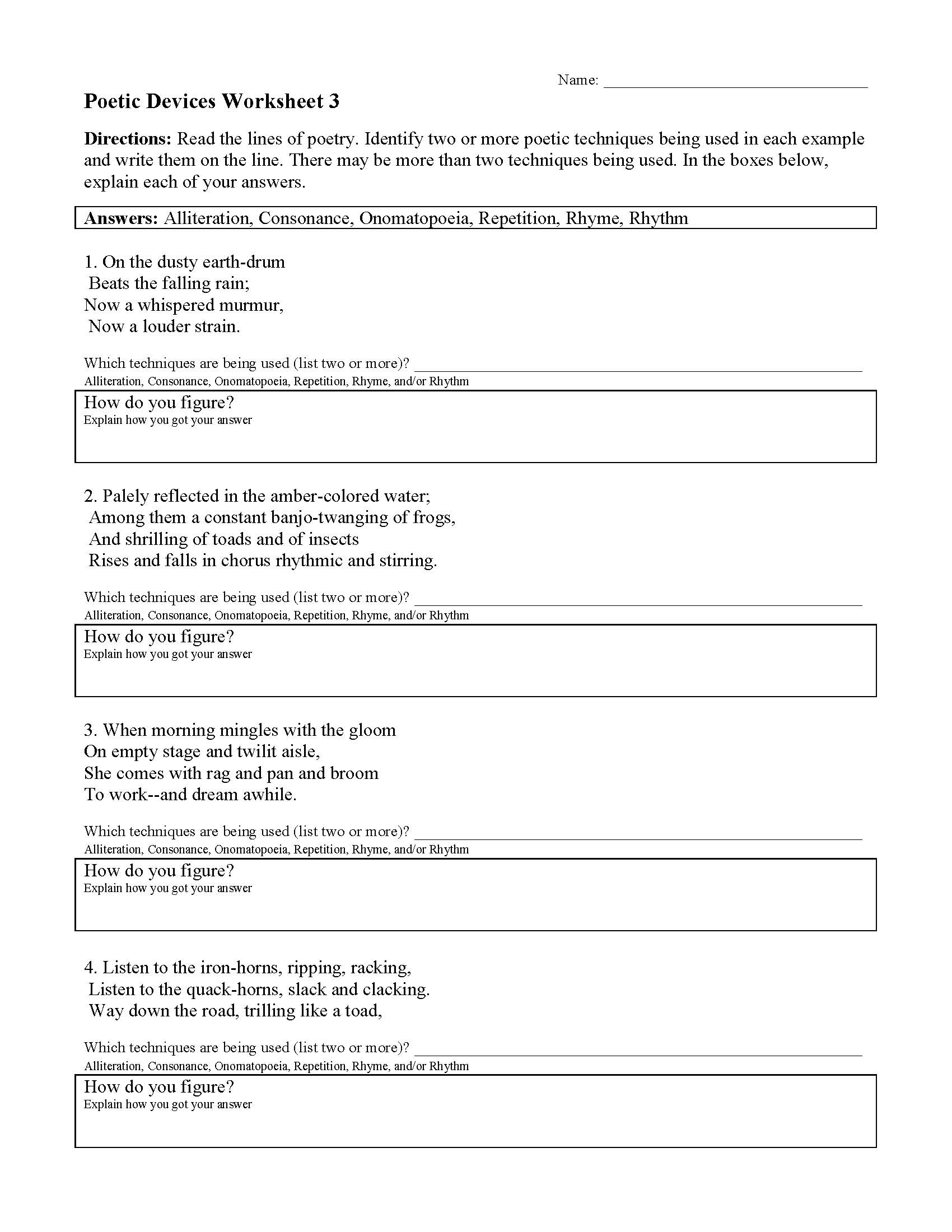 Poetic Devices Worksheet 3