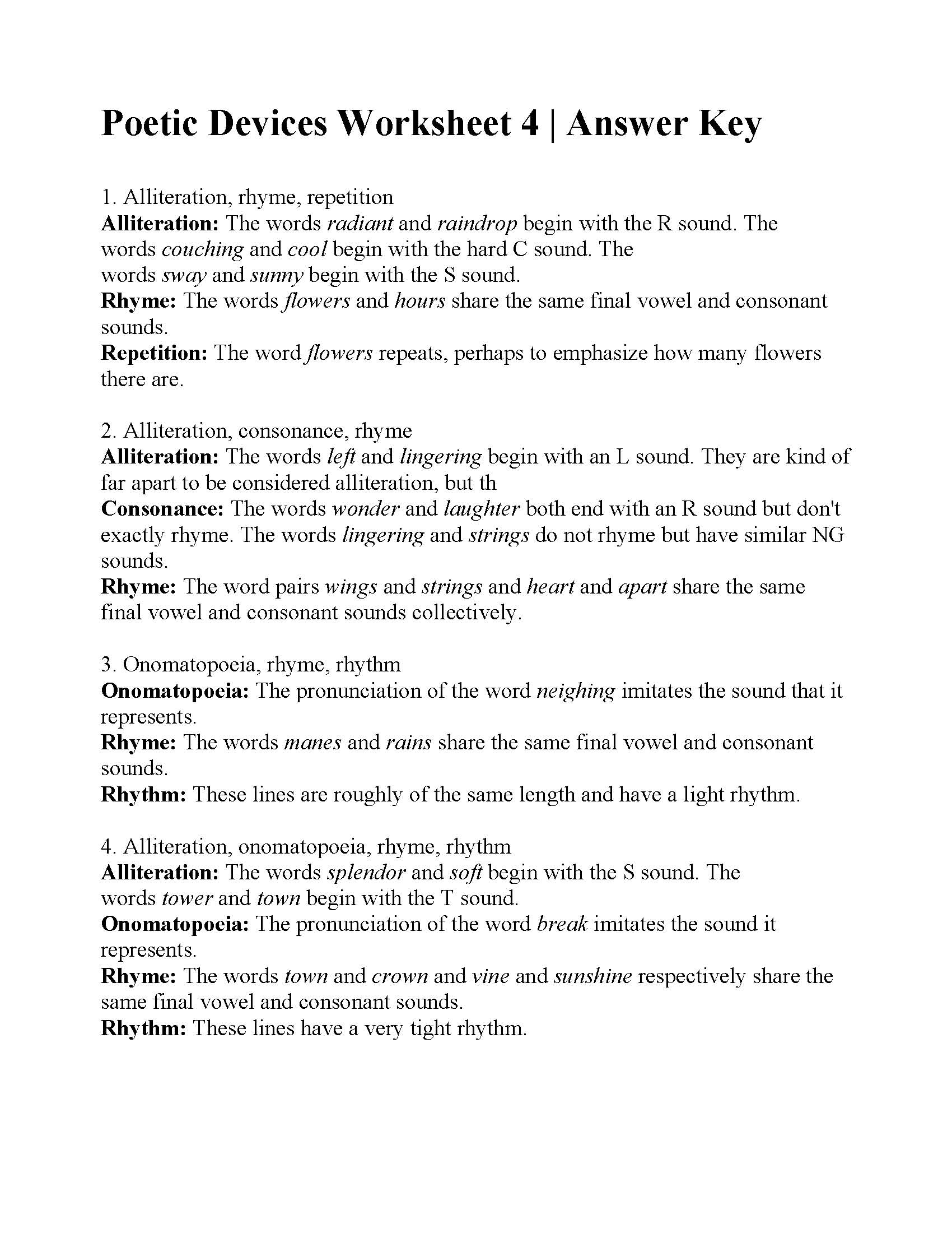 Poetic Devices Worksheet 4