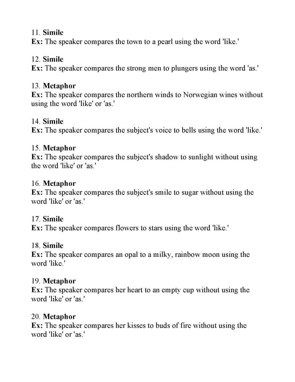 medium resolution of Simile and Metaphor Worksheet 1   Answers