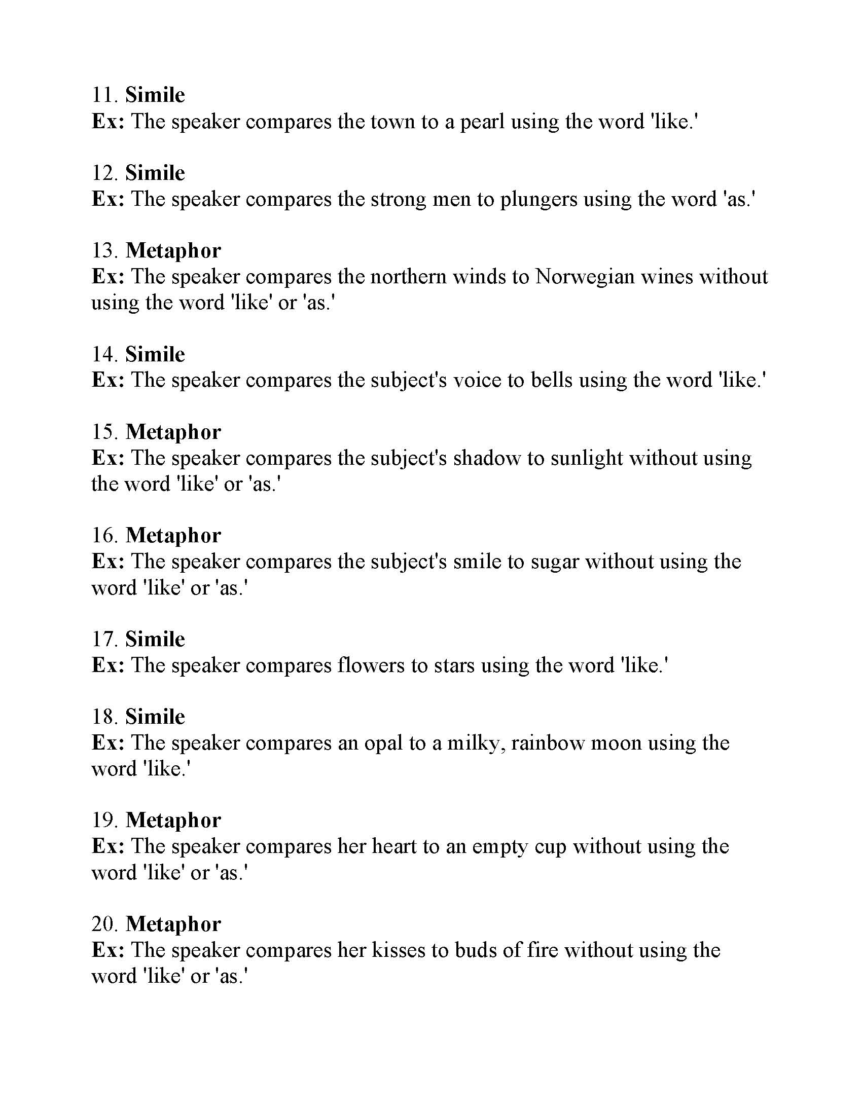 hight resolution of Simile and Metaphor Worksheet 1   Answers