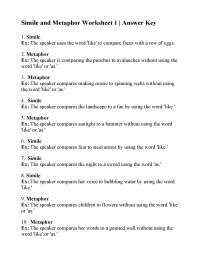 Simile and Metaphor Worksheet 1 | Answers
