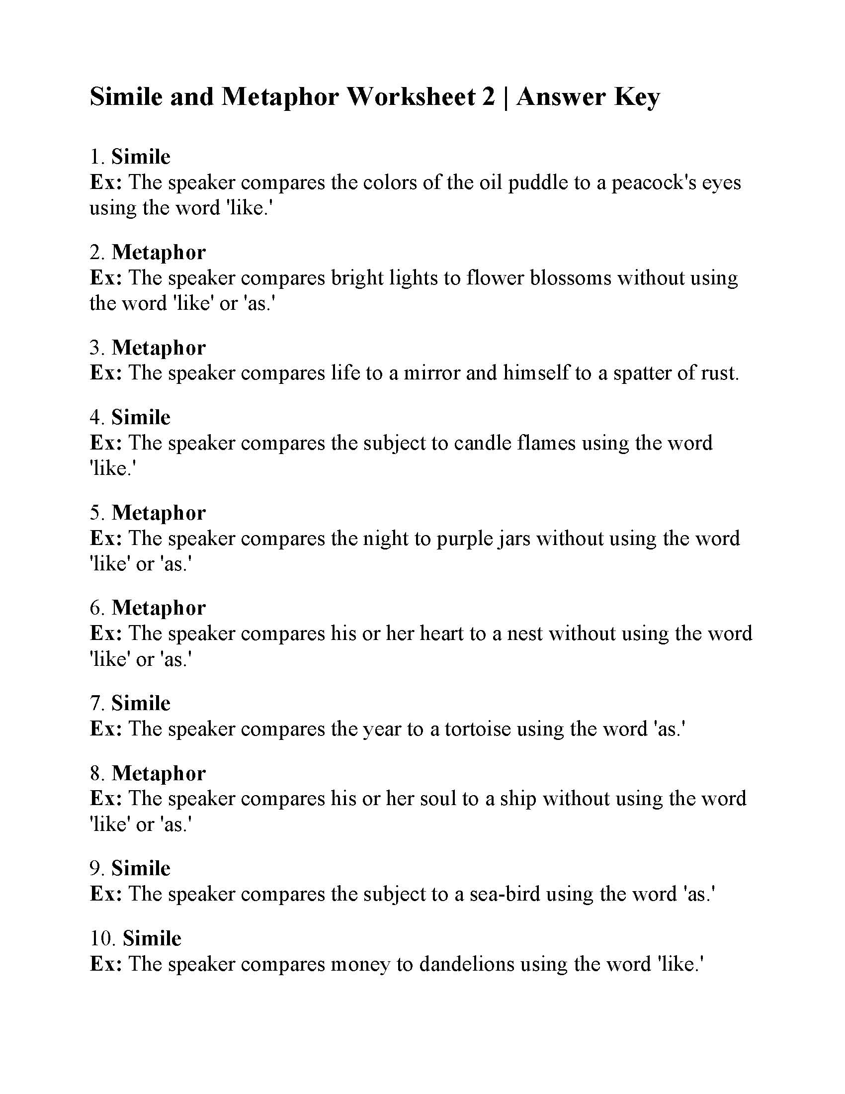 Simile And Metaphor Worksheet 2