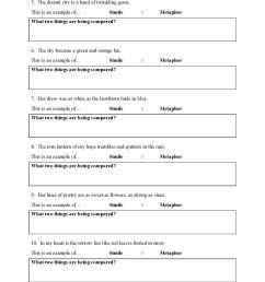 Simile And Metaphor Worksheet Answers [ 2200 x 1700 Pixel ]