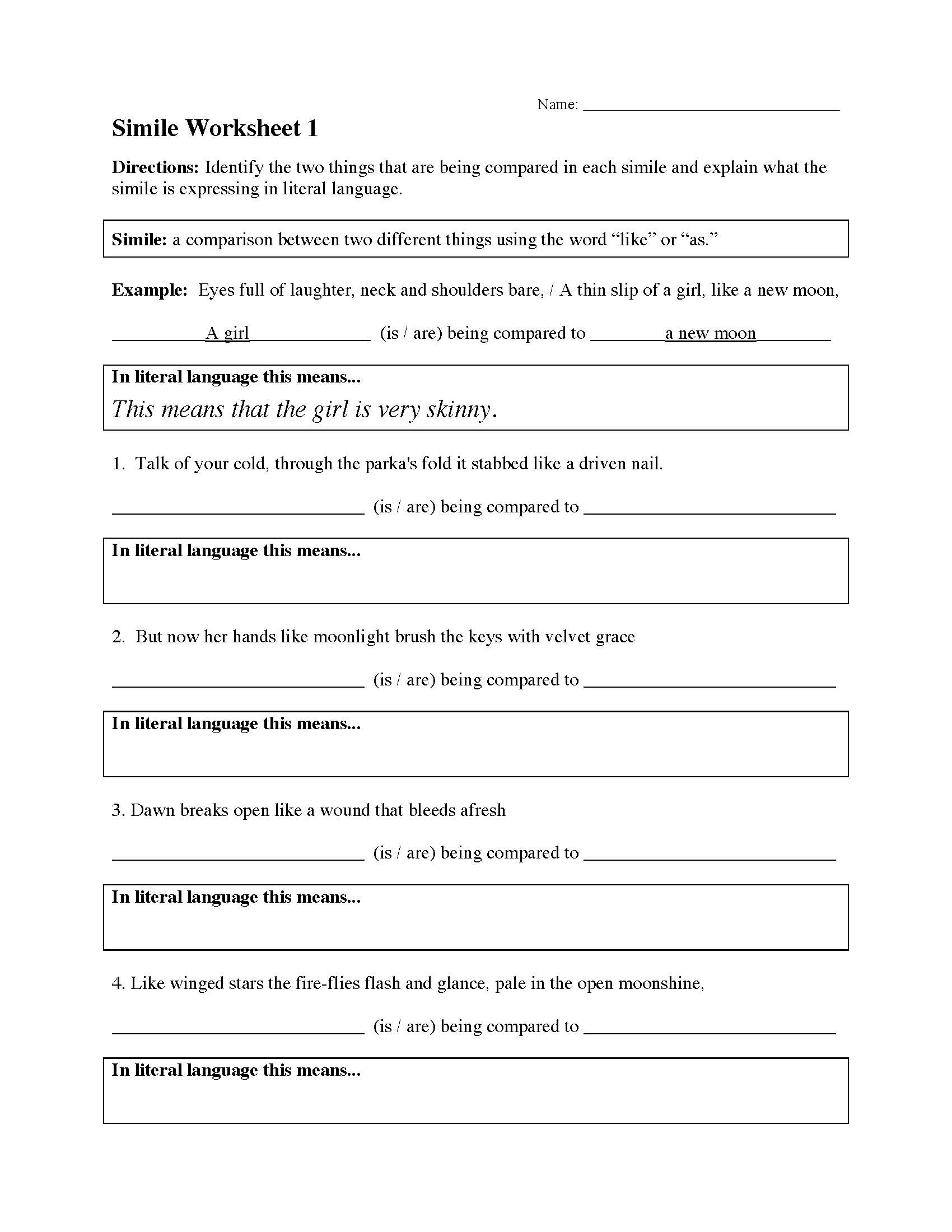 Similes Poetry Worksheet