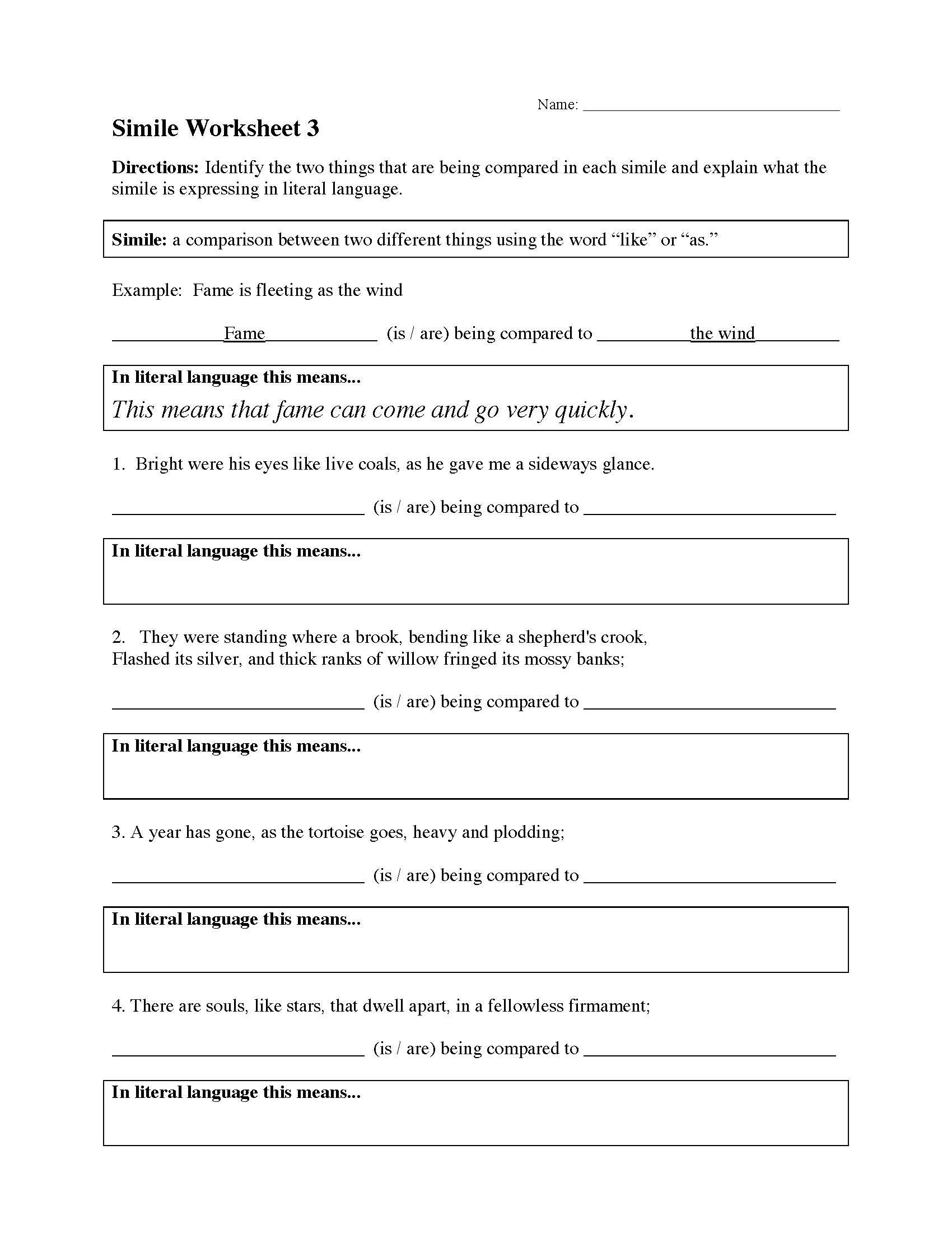 Simile Worksheet 3