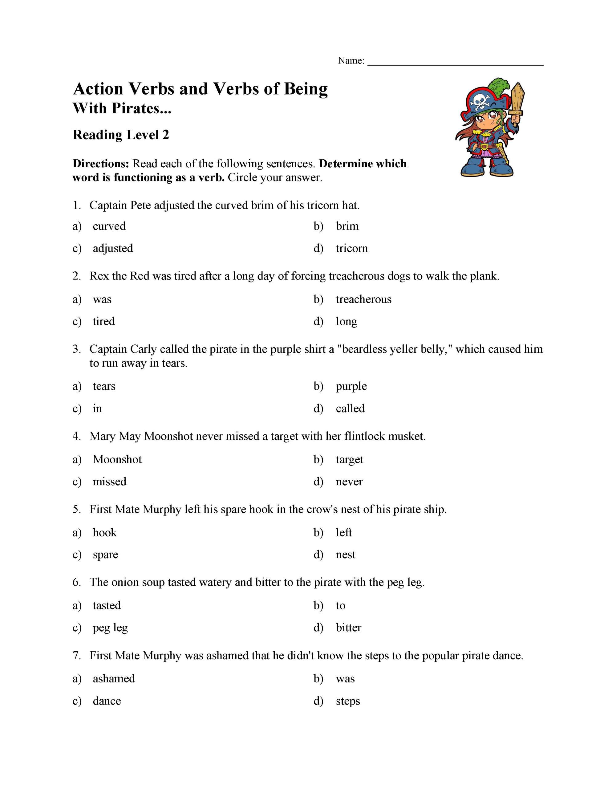 hight resolution of Action Verbs and Verbs of Being Test 1   Reading Level 2   Preview