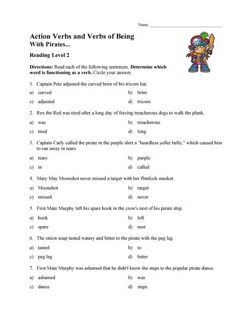 small resolution of Action Verbs and Verbs of Being Test 1   Reading Level 2   Preview