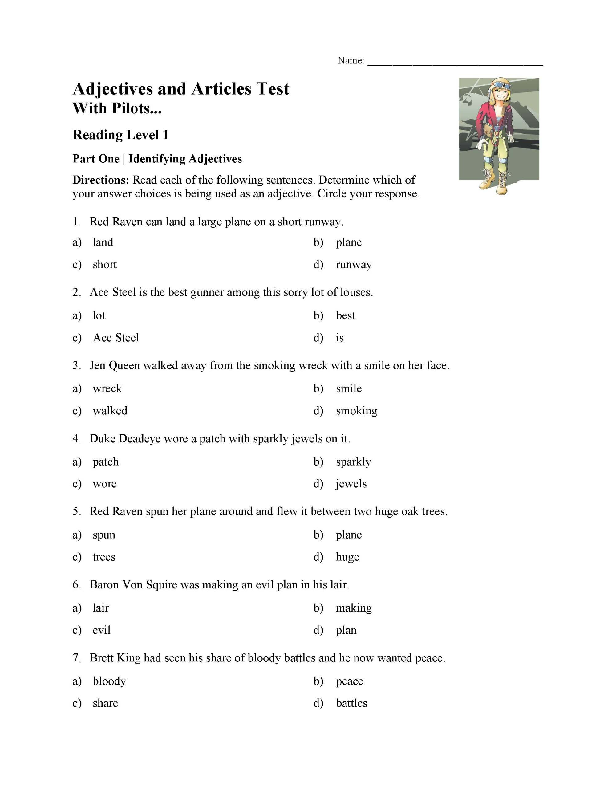 hight resolution of Adjectives and Articles Test With Pilots - Reading Level 1   Preview