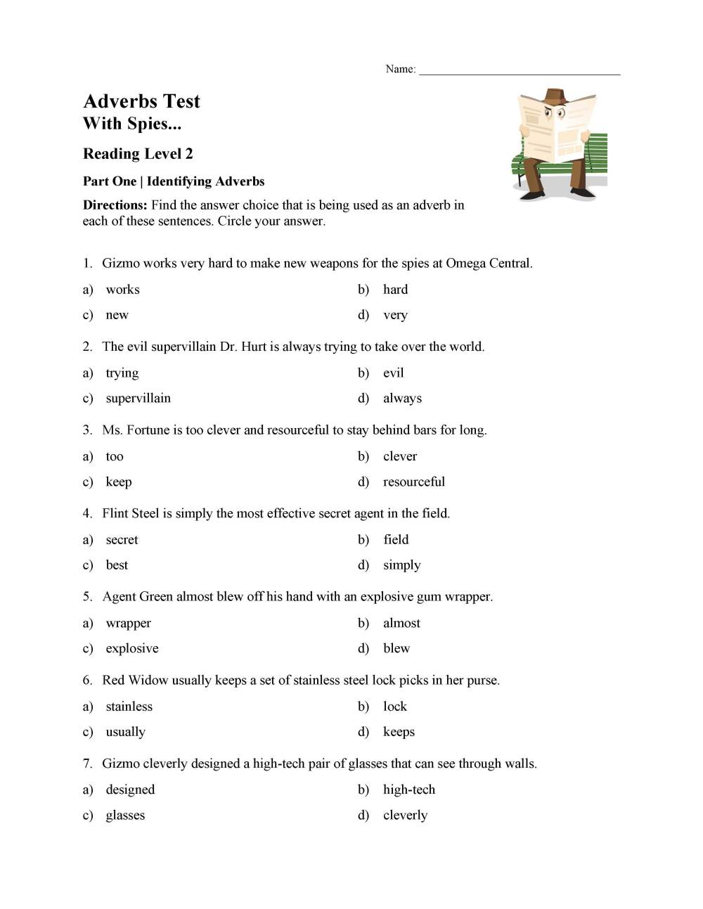 medium resolution of Identifying Adverbs Test - Reading Level 2   Preview