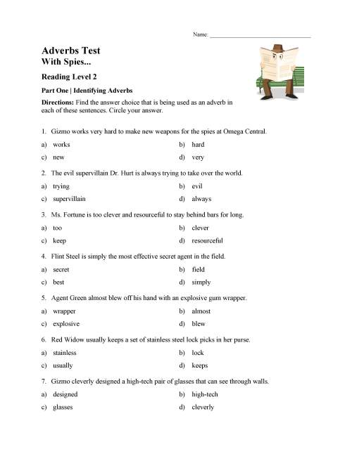 small resolution of Identifying Adverbs Test - Reading Level 2   Preview