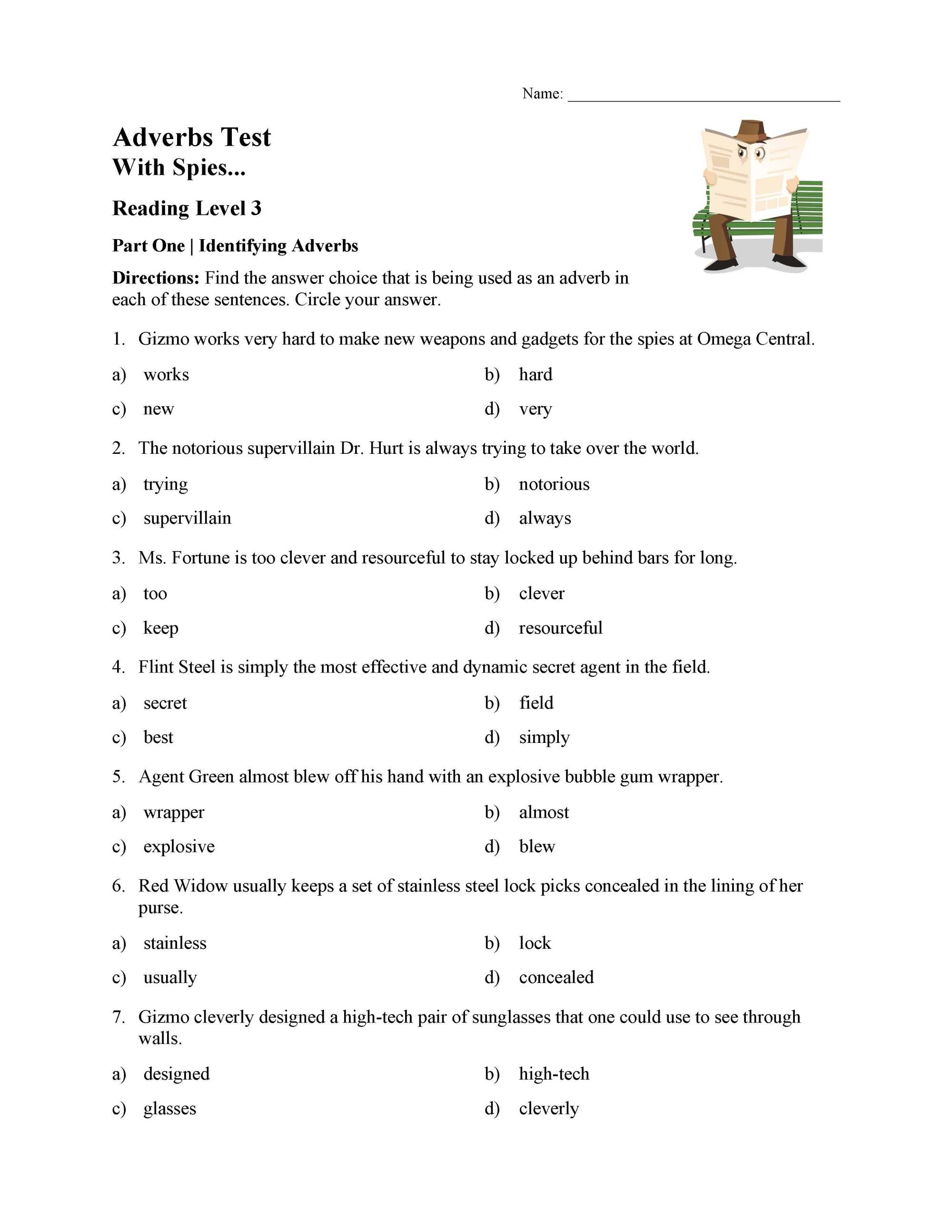 hight resolution of Identifying Adverbs Test - Reading Level 3   Preview