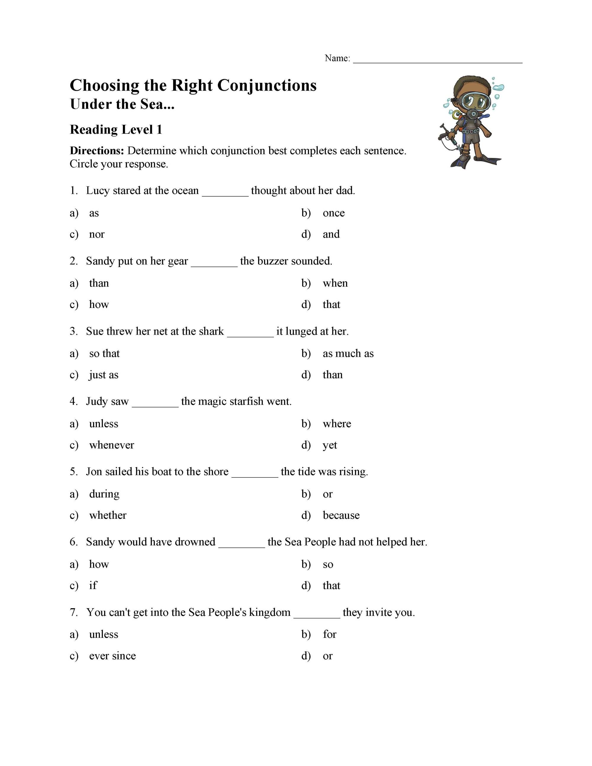 hight resolution of Choosing the Right Conjunction Worksheet - Reading Level 1   Preview