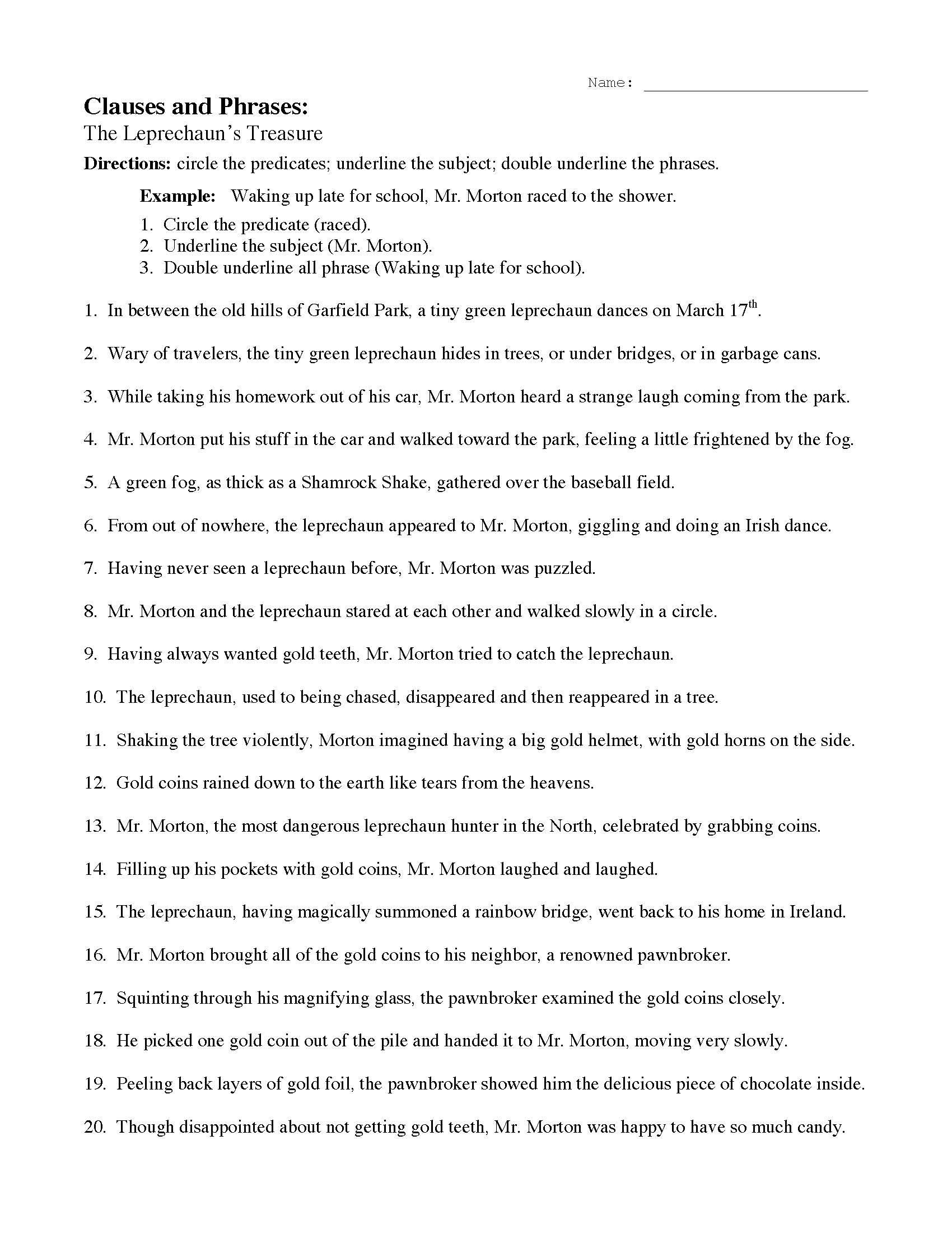 hight resolution of Phrases And Clauses Practice