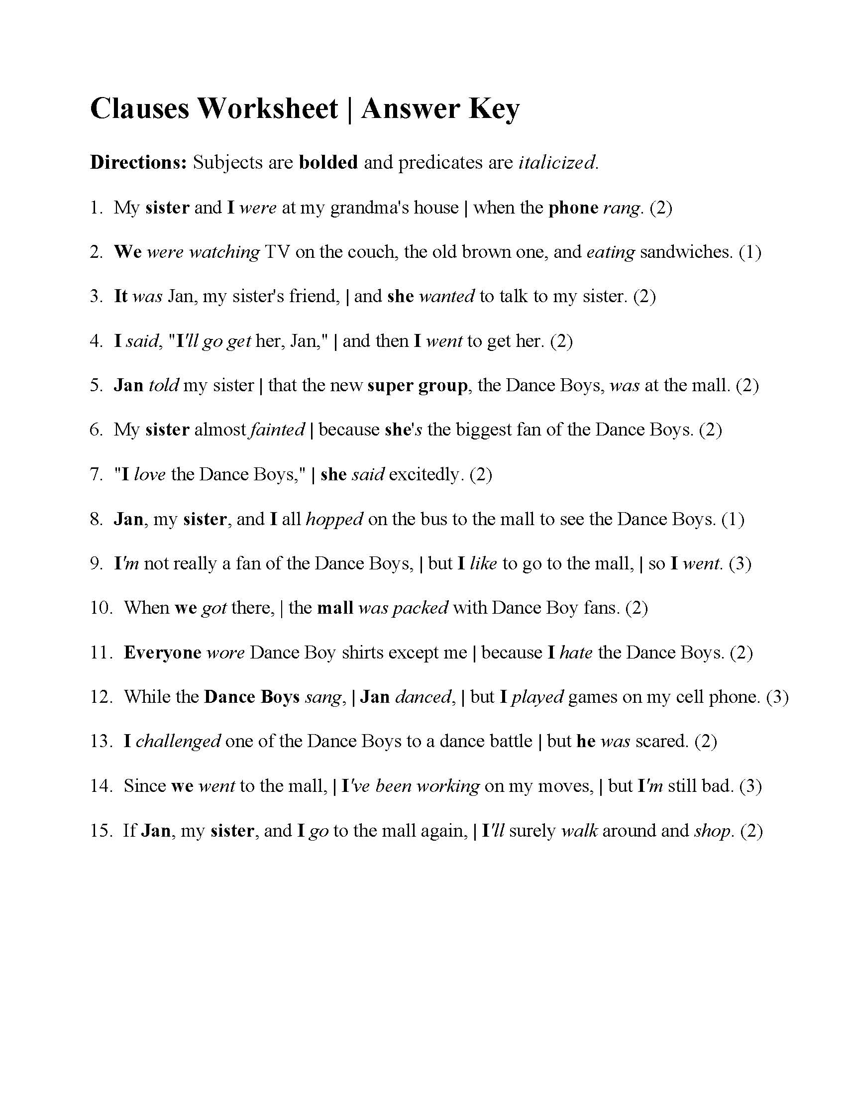 hight resolution of Independent Vs Dependent Clause Worksheet   Printable Worksheets and  Activities for Teachers