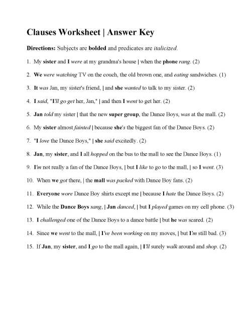 small resolution of Independent Vs Dependent Clause Worksheet   Printable Worksheets and  Activities for Teachers