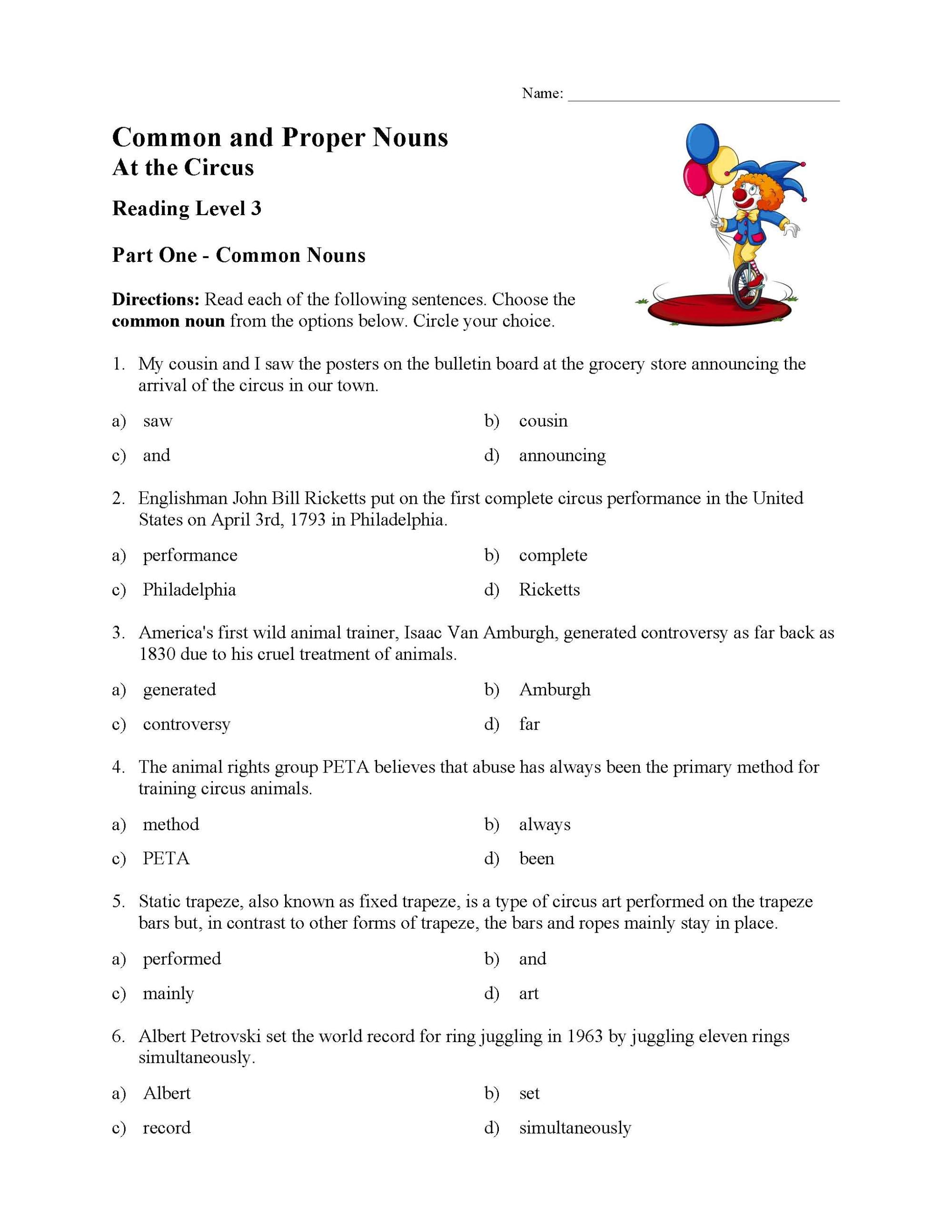 hight resolution of Common and Proper Nouns Test 3   Reading Level 3   Preview