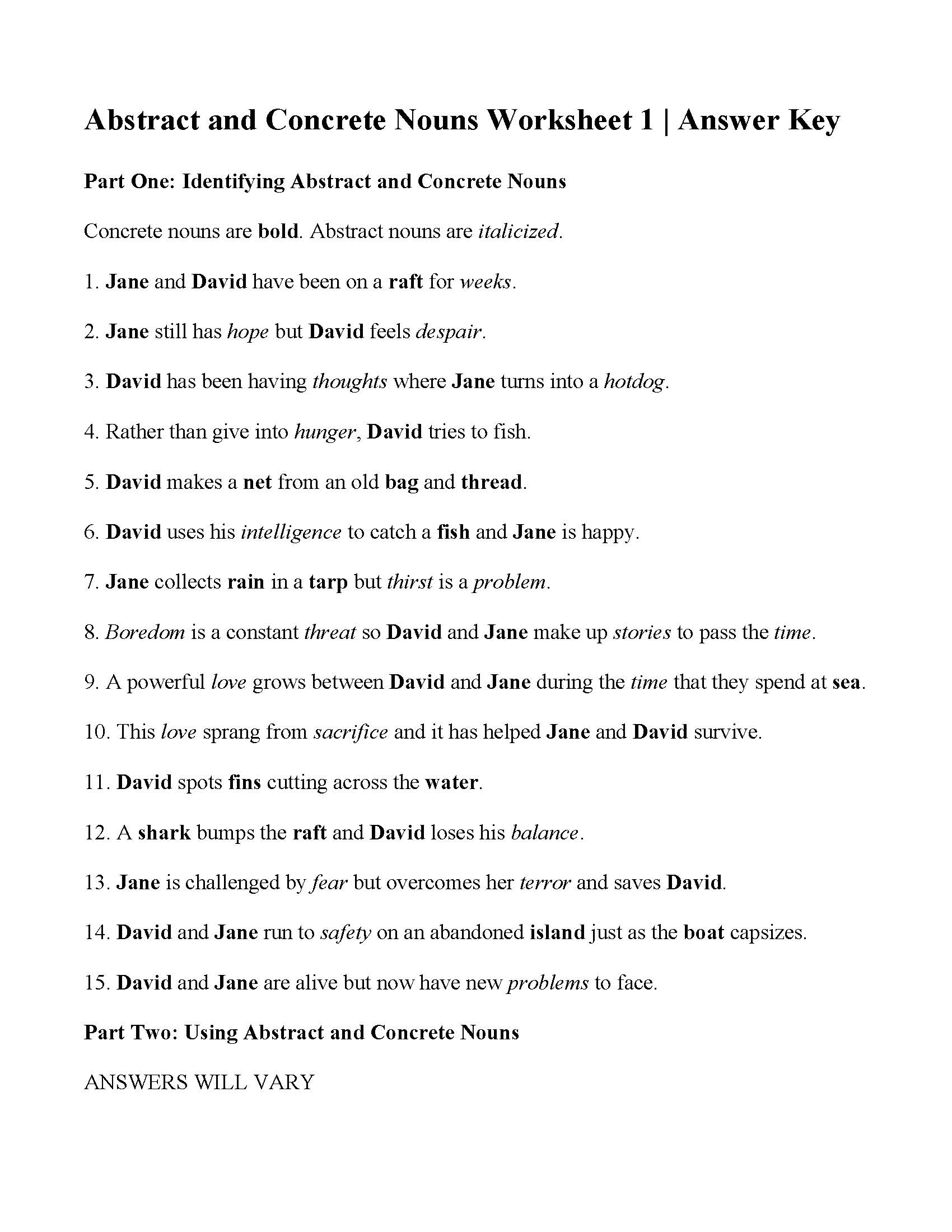 hight resolution of Concrete and Abstract Nouns Worksheet   Answers