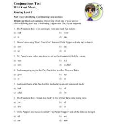 Conjunctions Test - Reading Level 1   Preview [ 3300 x 2550 Pixel ]