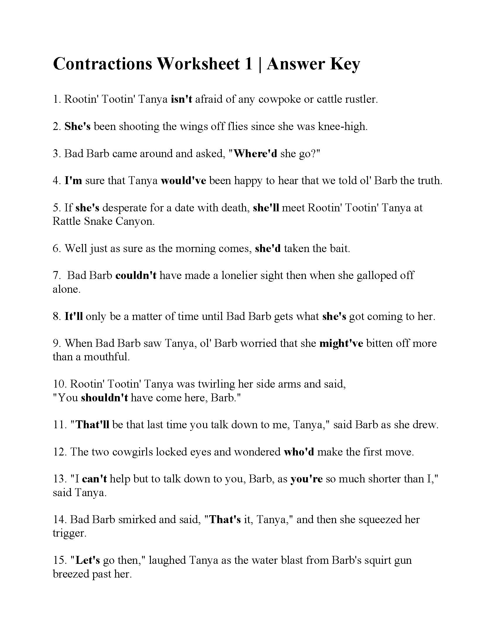 hight resolution of Contraction Reading Worksheets   Printable Worksheets and Activities for  Teachers