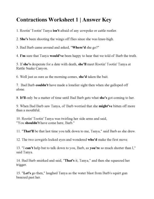 small resolution of Contraction Reading Worksheets   Printable Worksheets and Activities for  Teachers