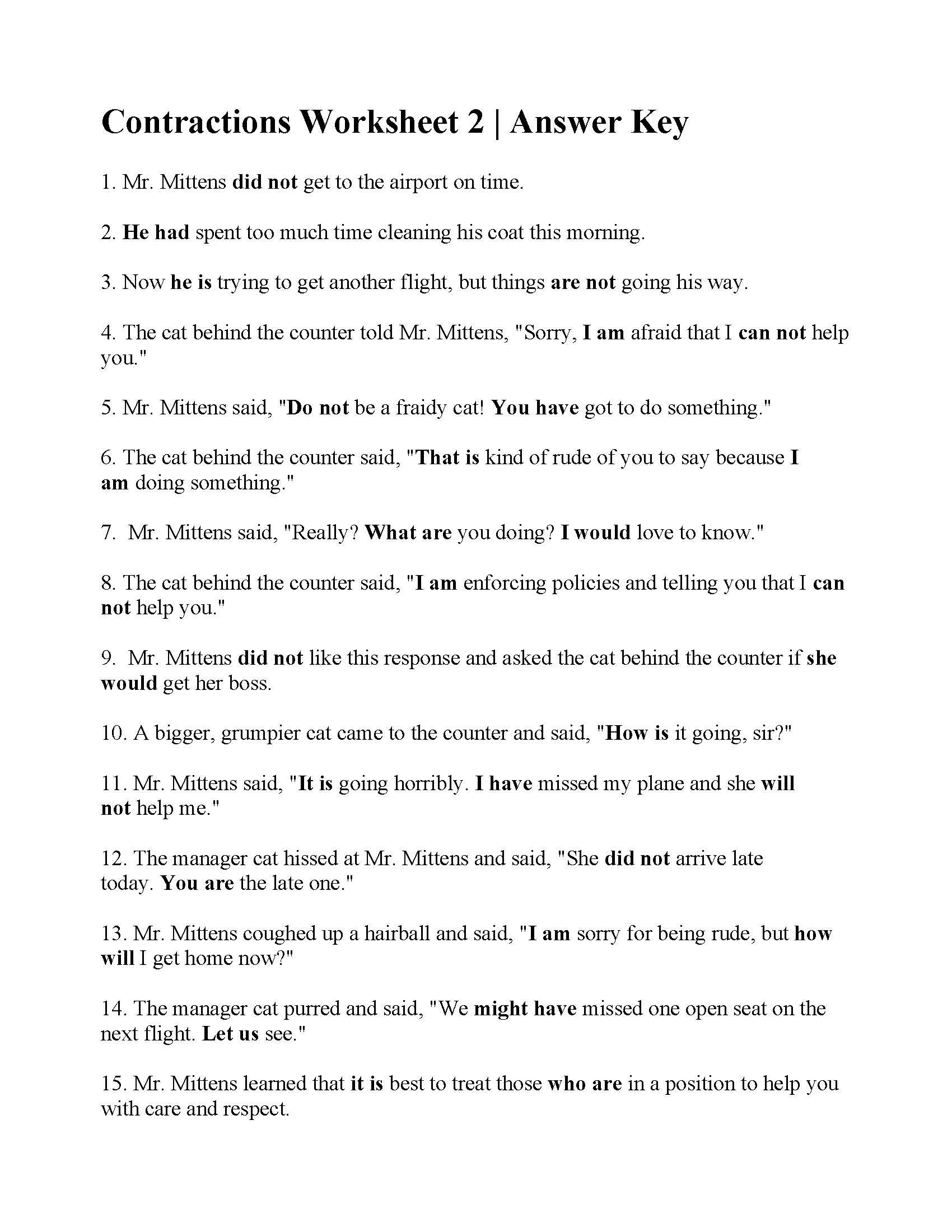 Contractions Worksheet 2