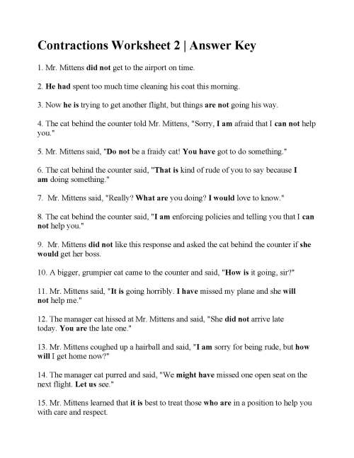 small resolution of Contraction Worksheets With Sentences   Printable Worksheets and Activities  for Teachers