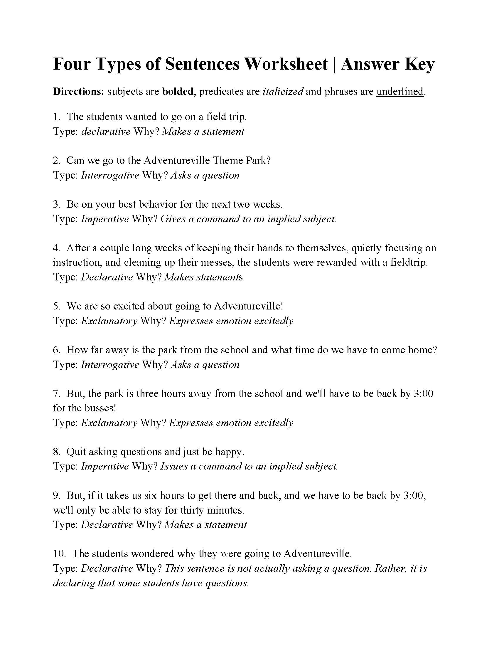 Worksheets 4 Types Of Sentences Worksheet Babyhunters