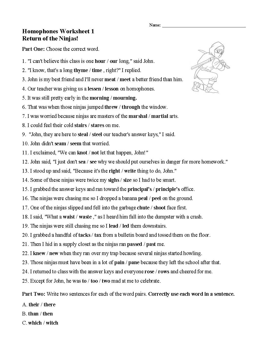 Homophones Sentences Worksheet