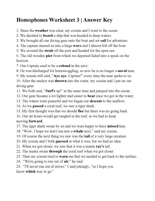 small resolution of Homophones Worksheet 3   Answers
