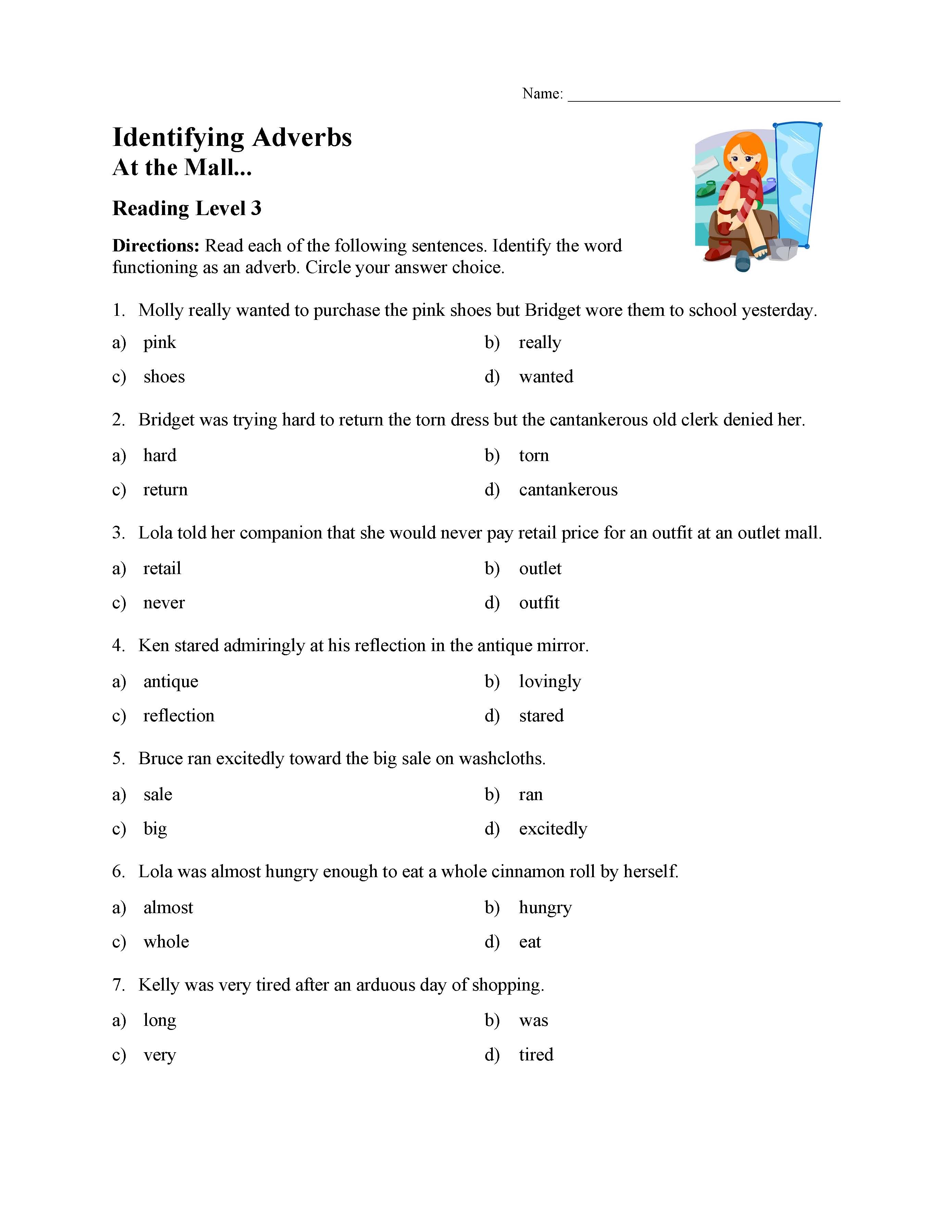 Identifying Adverbs Test