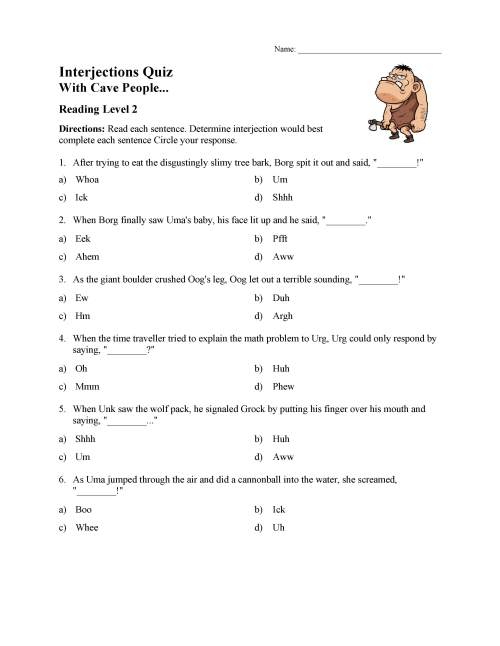 small resolution of Interjections Quiz - Reading Level 2   Preview