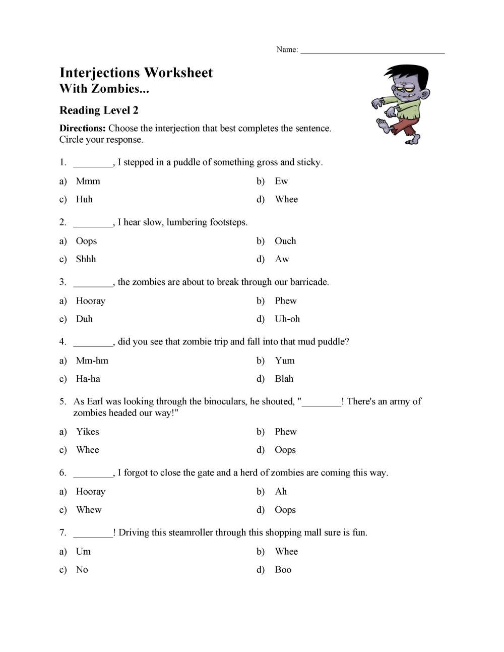 medium resolution of Interjections Worksheet - Reading Level 2   Preview
