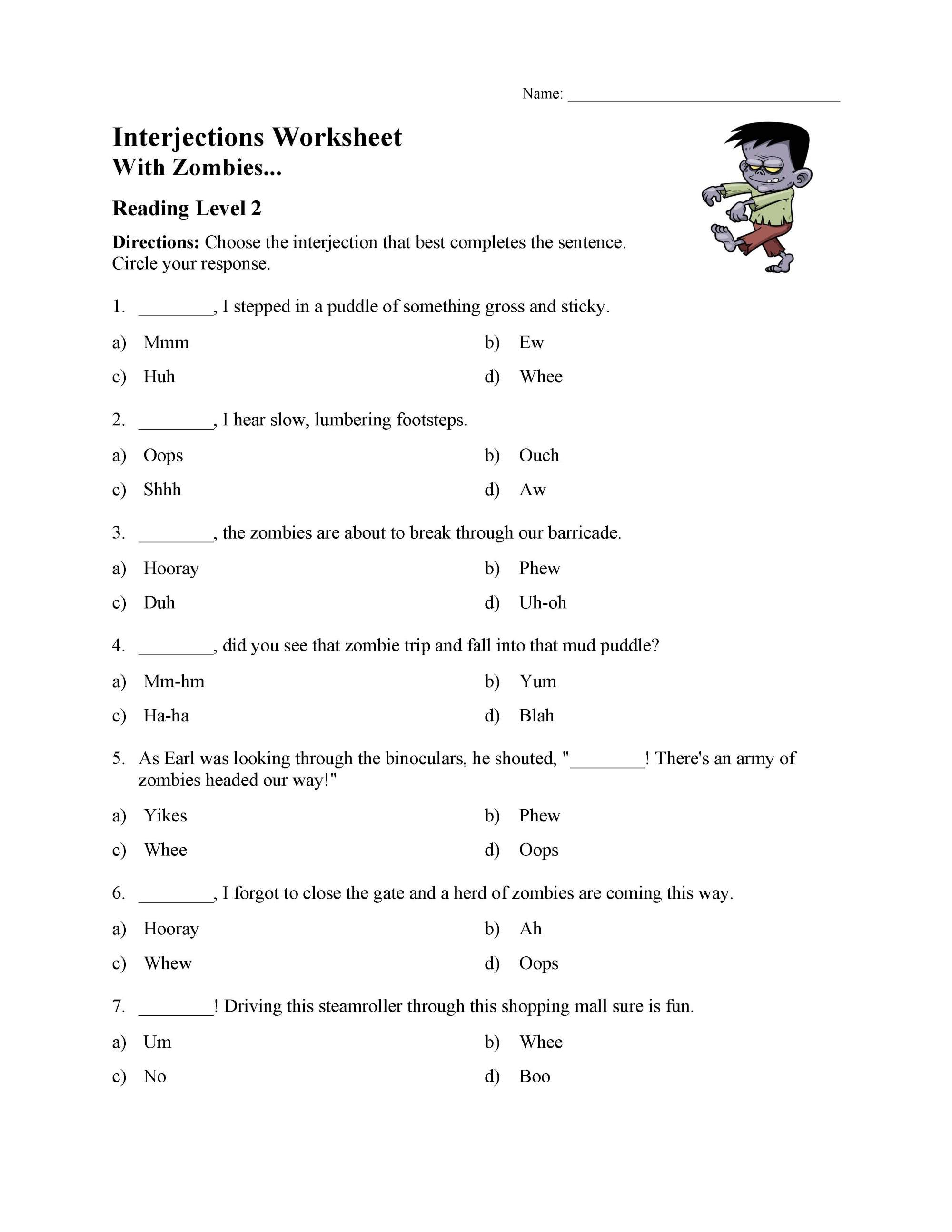 hight resolution of Interjections Worksheet - Reading Level 2   Preview