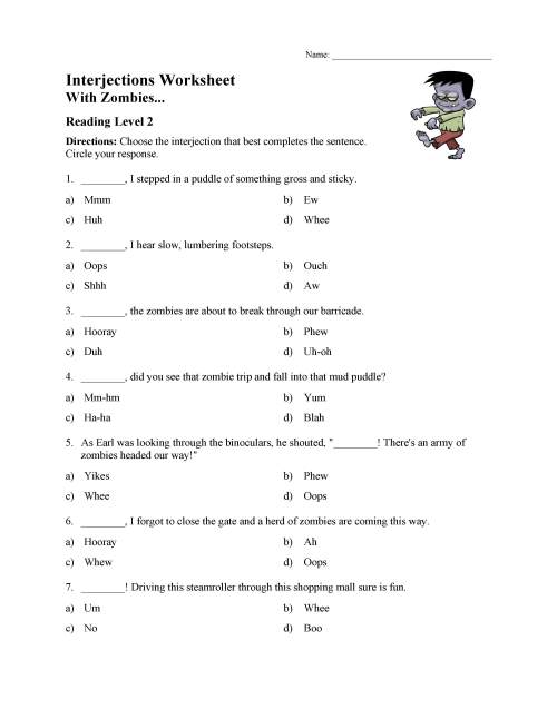 small resolution of Interjections Worksheet - Reading Level 2   Preview