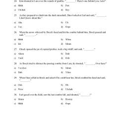 Interjections Worksheet - Reading Level 2   Preview [ 2200 x 1700 Pixel ]