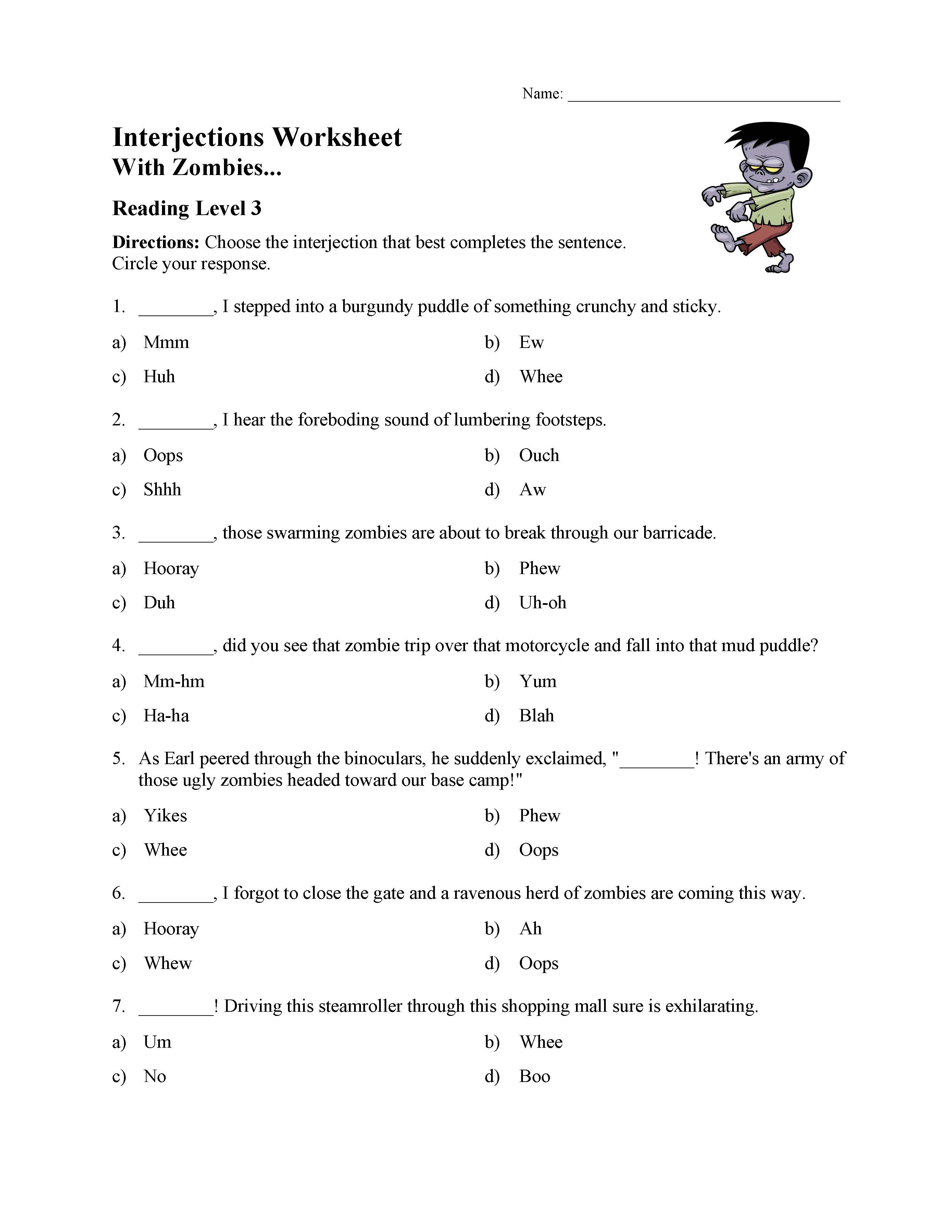 Interjections Worksheet