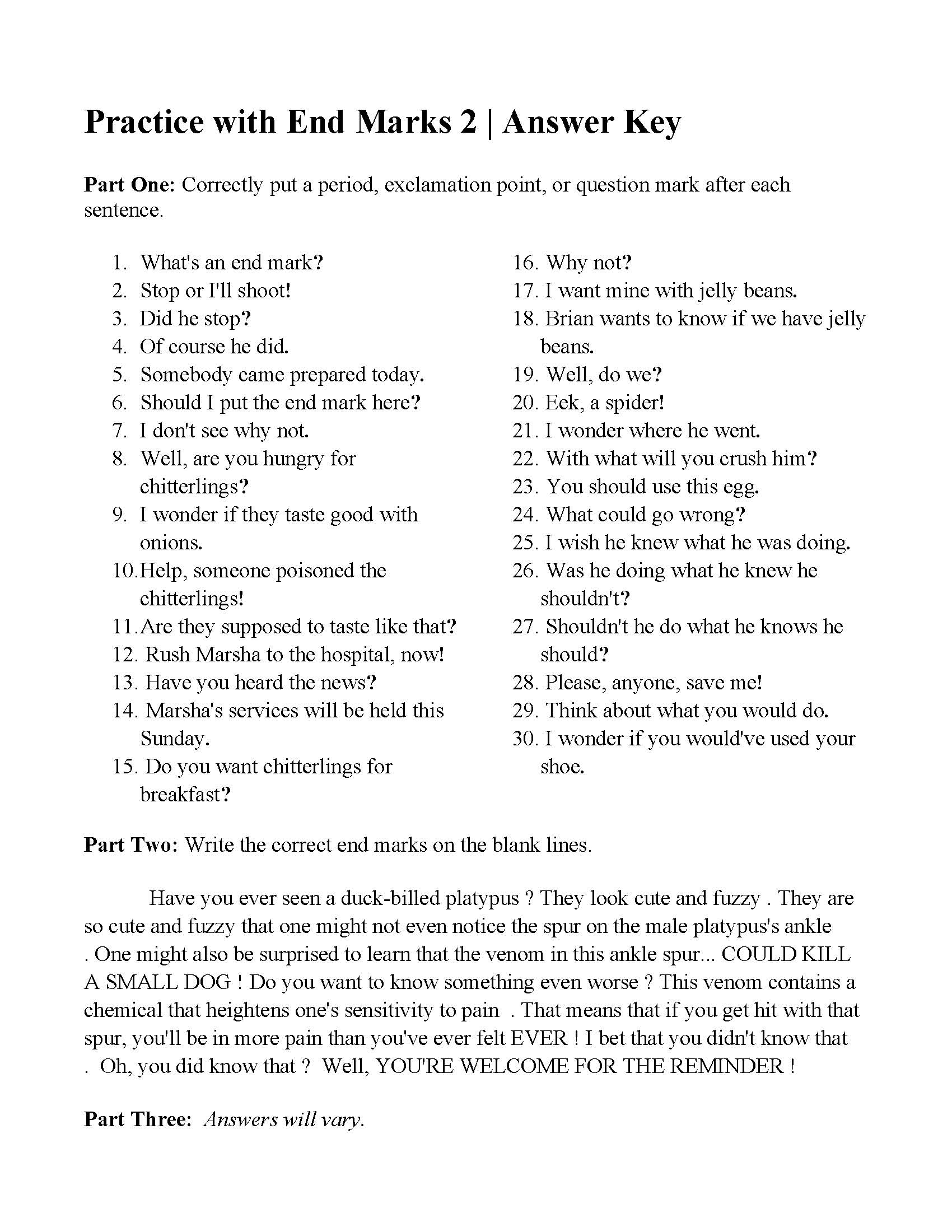 hight resolution of End Marks Worksheet   Printable Worksheets and Activities for Teachers