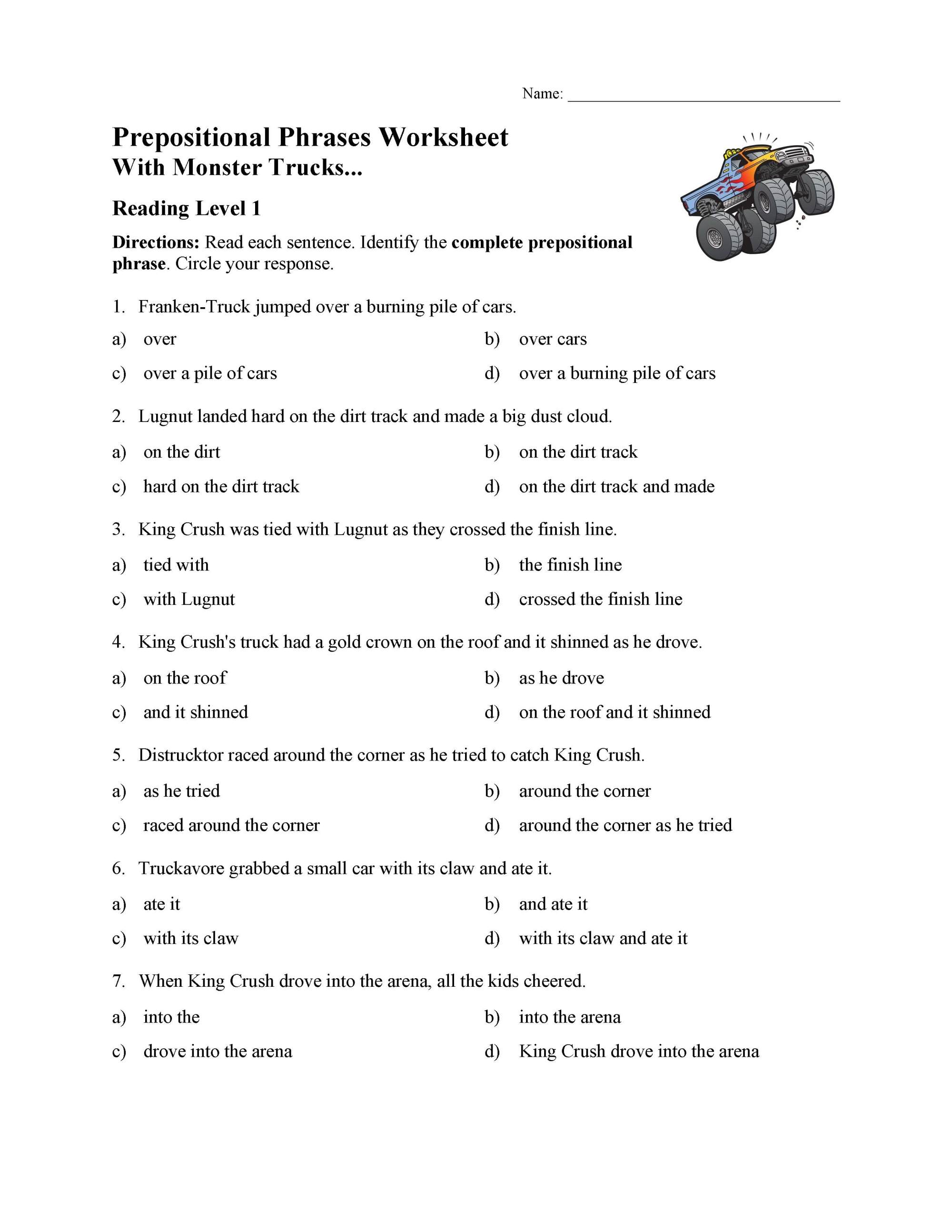 hight resolution of Prepositional Phrases Worksheet 1 - Reading Level 1   Preview