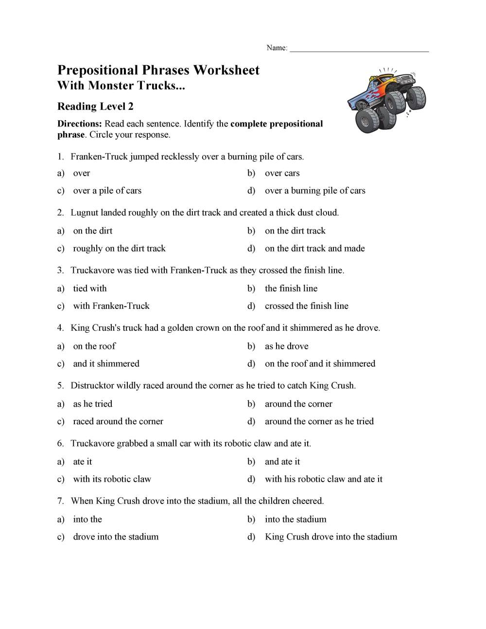 medium resolution of Prepositional Phrases Worksheet 1 - Reading Level 2   Preview