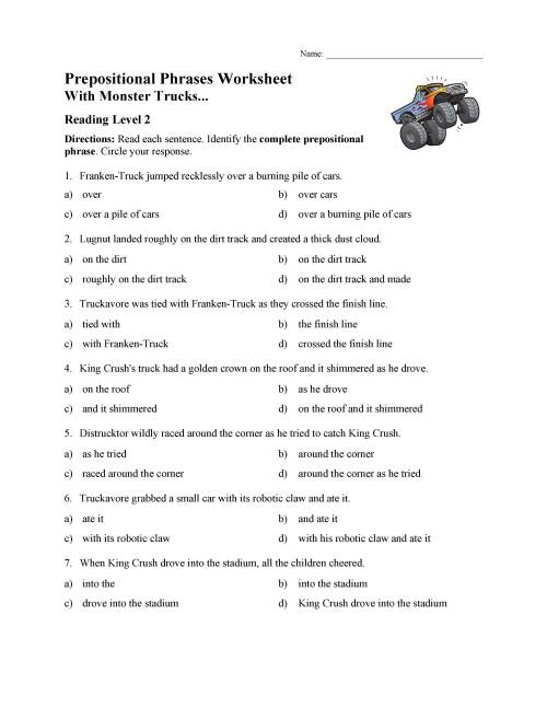 small resolution of Prepositional Phrases Worksheet 1 - Reading Level 2   Preview