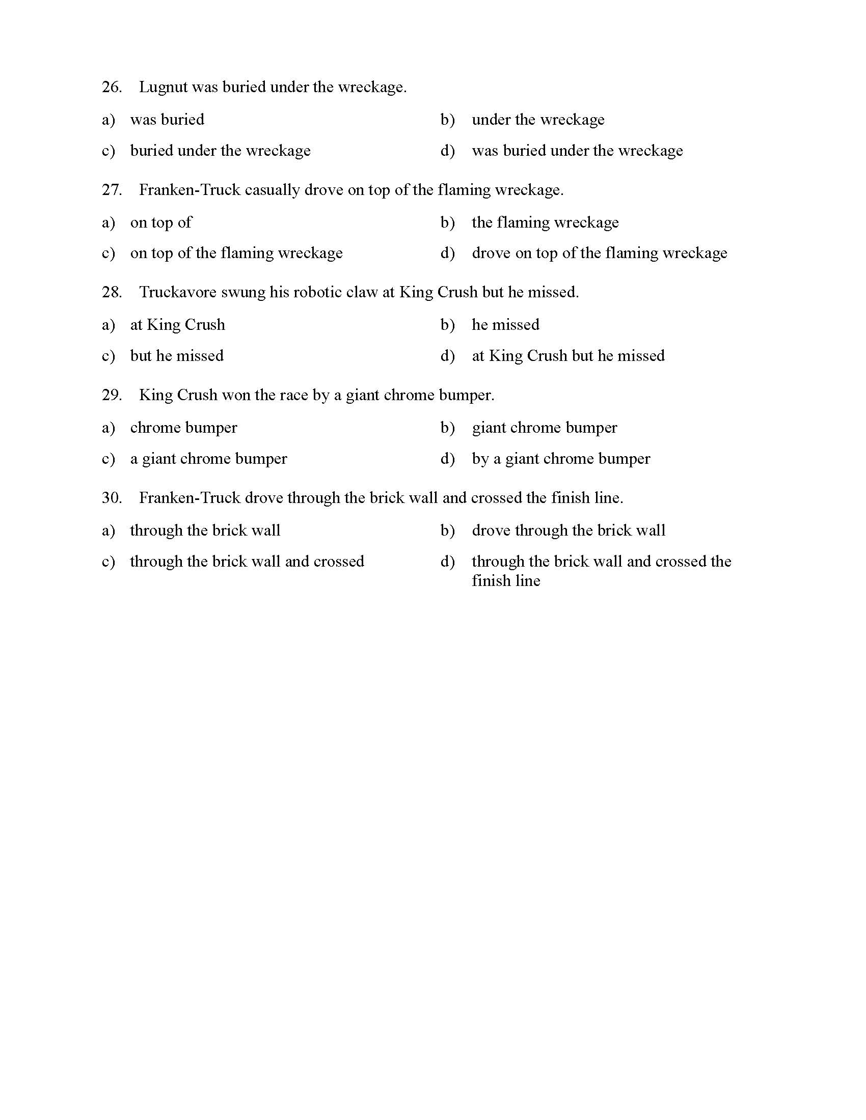 Prepositional Phrase Worksheet 6th Grade