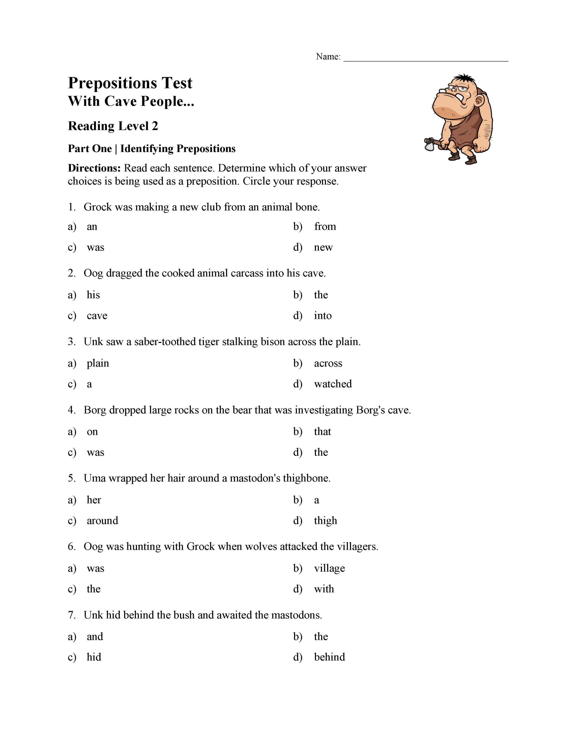 hight resolution of Prepositions Test 1 - Reading Level 2   Preview