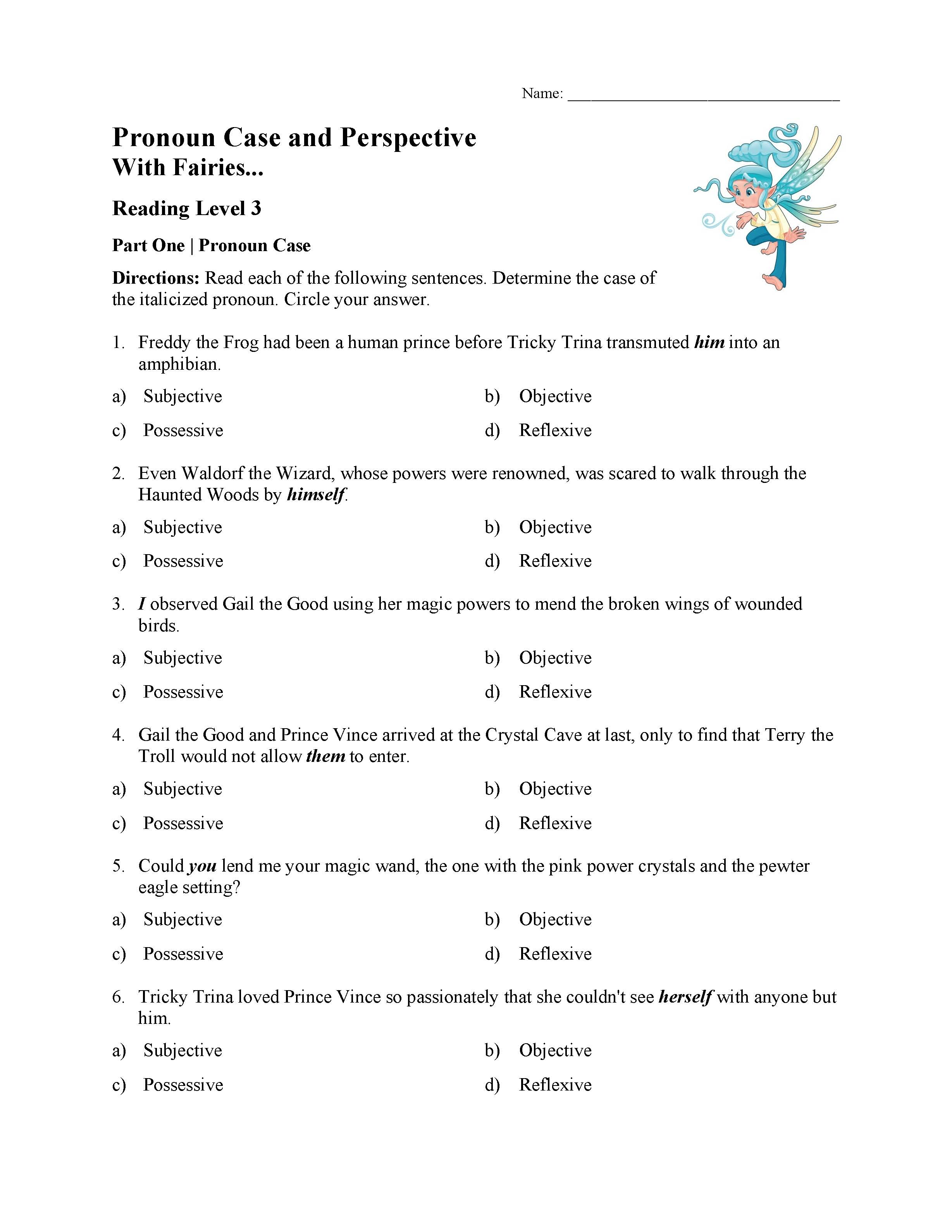 Perspective Pronouns Worksheet