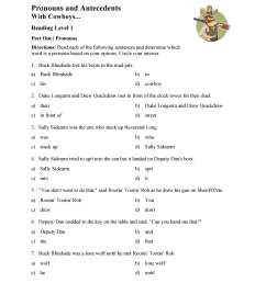 Pronoun and Antecedent Test - With Cowboys   Reading Level 1   Preview [ 3597 x 2780 Pixel ]
