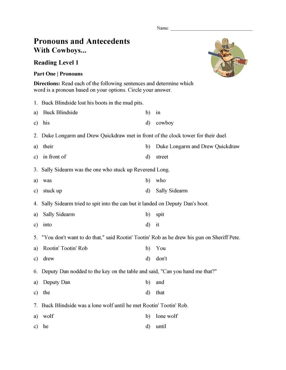 medium resolution of Pronoun and Antecedent Test - With Cowboys   Reading Level 1   Preview