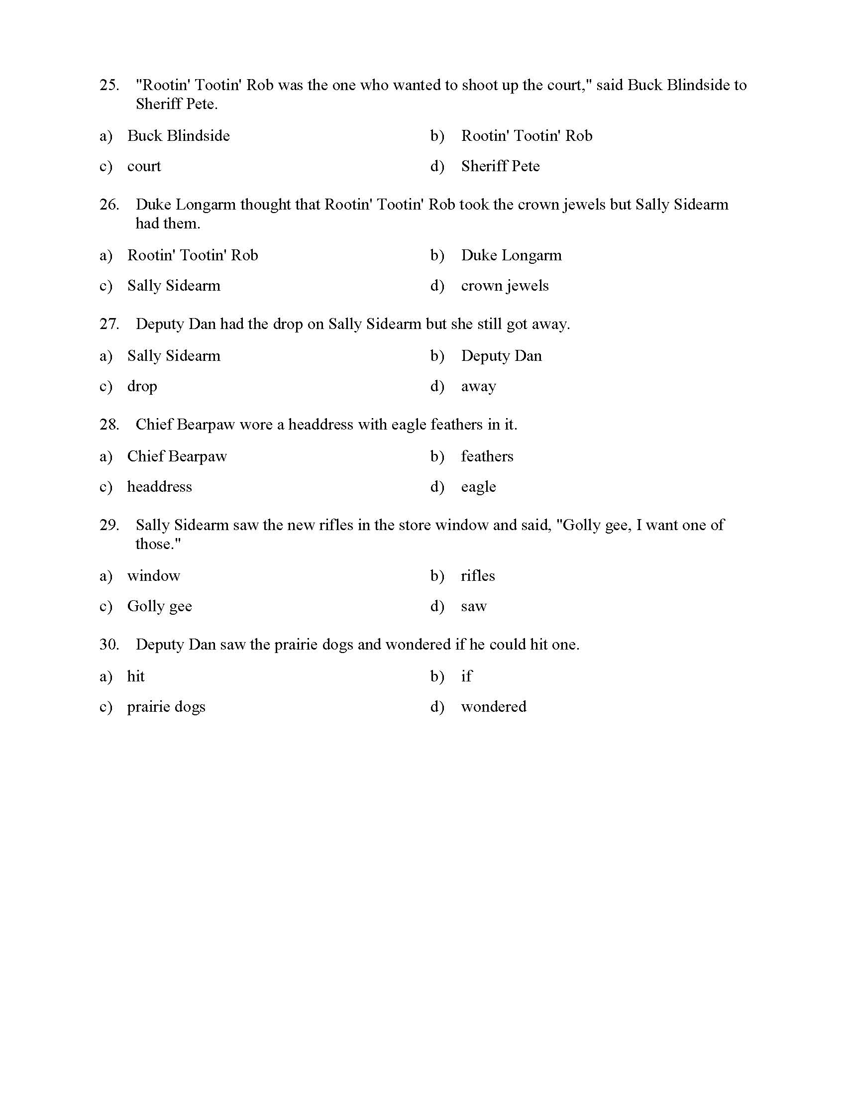 hight resolution of Pronoun and Antecedent Test - With Cowboys   Reading Level 1   Preview