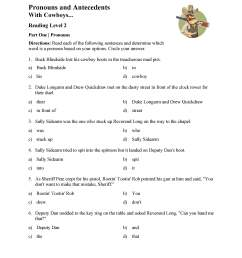 Pronoun and Antecedent Test - With Cowboys   Reading Level 2   Preview [ 3597 x 2780 Pixel ]